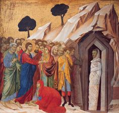 Duccio di Buoninsegna\ The Raising of Lazarus\ Italian (active 1278–1318) 14th century\ Tempera and gold on wood panel\ Sienese painter infused the prevailing Byzantine style with a more naturalistic, narrative mode. The Kimbell painting originally formed part of the altarpiece known as the Maestà (Majesty), made for the high altar of Siena Cathedral.