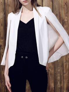 Elegant Collarless Solid Color Cape Blazer For Women WHITE | Dressfo