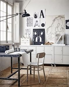 An office for art creation and also surrounded with art work. Creative space perfection.