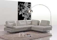 Divani Casa Carmel - Modern Taupe Italian Leather Sectional Sofa with Adjustable Backrests - VGCA969A