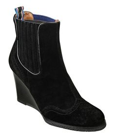 Take a look at this Black Suede Edria Wedge Boot by Tommy Hilfiger on #zulily today!