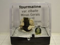 Thumbnail Mineral Specimen- Tourmaline Crystal with Cut Gem, Brazil  W/Perky Box