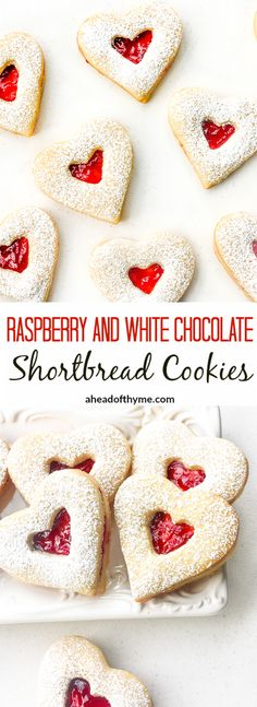 Raspberry and White Chocolate Shortbread Cookies: This Valentine's Day, surprise your boo with these cute and delicious raspberry and white chocolate heart-shaped shortbread cookies | aheadofthyme.com via @aheadofthyme