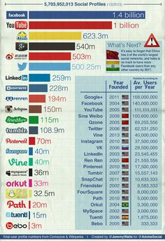Nutzerzahlen von sozialen Netzwerken - 2014 International