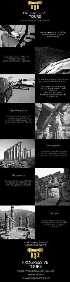 Luxury Transportation services infographic, Ancient Greece, Acropolis Temple, Delfi Tour, Argolida, private tours