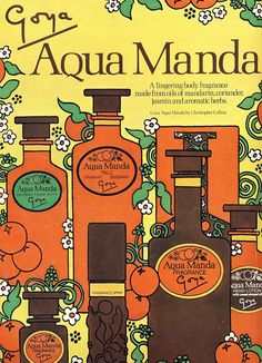 Vintage Advert for Aqua Manda perfume & toiletries - Vogue June 1971.