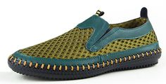Mohem Men's Poseidon Slip-On Loafers Water Shoes Casual Walking Shoes(3177Green44). A slip-resistant rubber outsole ensures strong footing at all times. Breathable air mesh upper lets the air flow through,very durable and comfort. Ultra lightweight and put on zero burden - Less than 45oz/shoe. Soft shoes design and stitch detailing,fresh and breathable lycra net cloth. Pure handmade,Made in China,High Quality And Inexpensive.