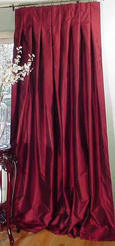 Pinch Pleat Drapes & Curtains - Custom Made to Your Exact Measurements Velvet Curtains, Linen Curtains, Curtain Fabric, Window Coverings, Window Treatments, Burgundy Decor, Curtain Headings, Red Cottage, Beautiful Curtains