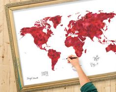 Wedding Guest Book Watercolor World Map Special Color von Macanaz