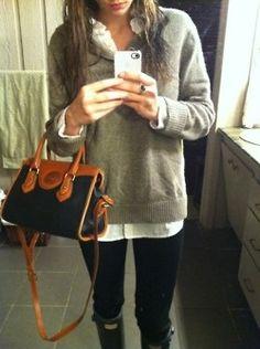 leggings, boyfriend collard shirt and oversized sweater