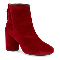 "Topshop 'Pinball' Velvet Ankle Boots, 3"" heel ($190) ❤ liked on Polyvore featuring shoes, boots, ankle booties, ankle boots, red, high heel ankle boots, red short boots, red ankle booties and red high heel boots"