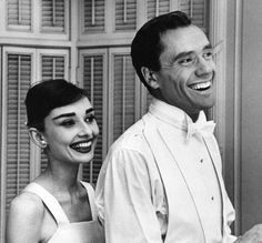 Audrey Hepburn and Mel Ferrer at their Los Angeles home on the day of the 28th Academy Awards, March 21, 1956
