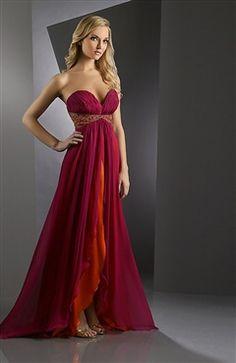 Shirred Sweetheart Bi-Color Overskirt Prom Dress