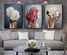 Flowers Feathers Woman Abstract Canvas Painting Wall Art Print Poster Picture Decorative Painting Living Room Home Decoration – Nana's Corner Beauty Cosmetic Abstract Wall Art, Canvas Wall Art, Wall Art Prints, Poster Prints, Canvas Prints, Living Room Canvas Painting Ideas, Living Room Wall Art, Abstract Portrait, Acrylic Canvas