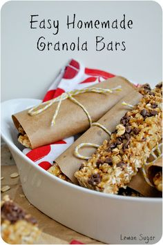 Easy Homemade Granola Bars  Yield:  10 6-inch bars  Prep Time:  10 minutes ♦ Cooling time:  20 minutes    Ingredients:   4 Tablespoons butter   2 cups plain granola   1 cup crispy rice cereal   1/4 cup mini chocolate chips   1/4 cup mini peanut butter chips   1/4 cup brown sugar   1/4 cup honey