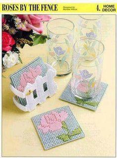 Plastic Canvas Coasters, Plastic Canvas Crafts, Plastic Canvas Patterns, Cross Stitch House, Canvas Board, Bargello, Beautiful Crochet, Coaster Set, Cross Stitching