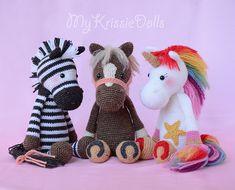 Créations amigurumi de Kristel Droog : zèbre, cheval et licorne.