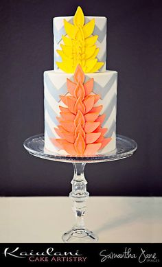 Contemporary Hawaiian cake w/chevron