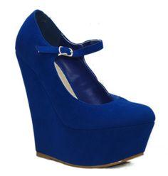 royal blue suede wedge heel