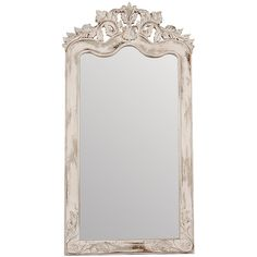 Crossroads Florentine Floor Mirror ❤ liked on Polyvore featuring home, home decor, mirrors, grey mirror, gray home decor, antique white mirror, wood floor mirror and gray wood mirror