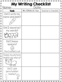 An adorable writing checklist for primary grades! One column for the kiddo, one for the teacher to do together and staple to their writing!