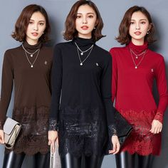 Fashion Women Long Sleeve Splice Lace Shirts High Collar Tops Casual Slim Blouse