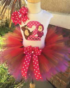 Items similar to Masha and the Bear Birthday Tutu Outfit Dress Set Handmade on Etsy Bear Birthday, Birthday Tutu, Princess Birthday, Girl Birthday, Birthday Parties, Skinny Headbands, Elastic Headbands, Marsha And The Bear, Baby Girl Shower Themes