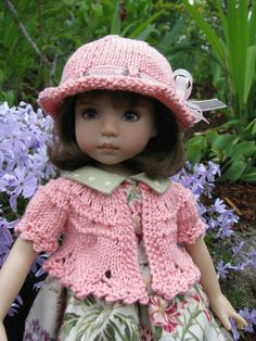 "Carnation Pink Sweater Hat by Tuula Fits 13"" Effner Little Darling to A ""T"" 