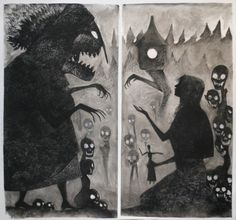 "cloviashaw: "" Baba Yaga and Vasilisa the Beautiful diptych, by MiloNeuman on DA. Charcoal on paper, paper is 8 feet tall. "" I just finished reading a version of this story in Women Who Run With the Wolves."