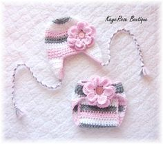 Newborn Baby Button Ear Flap Flower Hat & Diaper Cover Set Pink White and Grey Stripes