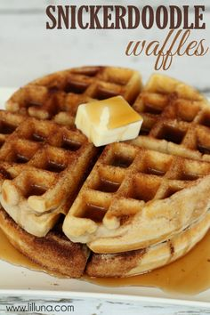 Snickerdoodle Waffles are delicious and perfect for breakfast, lunch or dinner! { lilluna.com }