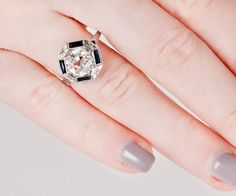 Antique Engagement Ring Antique 18K White Gold by TheCopperCanary