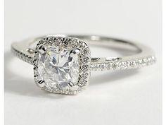 Cushion Cut Halo Diamond Engagement Ring in Platinum #BlueNile #Engagement