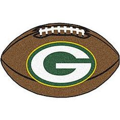 Green Bay Packers football shaped rug