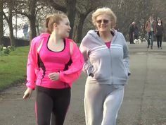 """Lesley Calvert - another of the participants on the DAPA research programme - out jogging with her granddaughter. Both of them feature in the YouTube presentation """"Young people and dementia"""""""