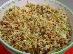 Ramen Noodle Salad, 2 pks noodles, 2.5 oz. bag sliced almonds, 3/4 C sunflower seeds, 1/2 C chopped red onion, 1 bag broccoli slaw, both seasoning pkts, 3/4 C oil, 1/2 C vinegar, 1/3 C sugar, grilled chicken. Combine first 5 ingredients. In separate bowl, combine next 4 ingredients. Pour over noodle mix. Top with chicken. Mix. Refrigerate at least 4 hours. Mix again. Enjoy!!