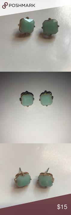 Light blue earrings square, light blue stud earrings. worn once! Francesca's Collections Jewelry Earrings