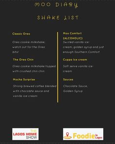 Shake Lovers!! Get in here!  @moo.diary is going to be shaking it up at our Food Fair on SUNDAY  Check out the menu! It's a Mooo-vement!  #FoodieinLagosFair #TheLagosHomeShow #FoodieinLagos