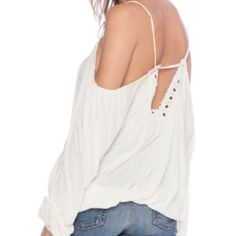 Free People Ivory off the shoulder Top Free People soft and chic blouse. Machine wash. Imported. Top rated seller  Fast Shipper  15% Bundle Discounts  Motivated Seller and Accepts all reasonable offers! Free People Tops