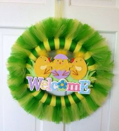 Easter tulle wreath spring tulle wreath by JoiedeVivreCrafts, $32.00