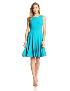 Calvin Klein Women's  Sleeveless Solid Flare Dress, Lagoon, 2 Calvin Klein