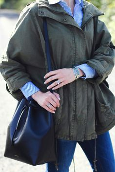 anorak and striped button-down