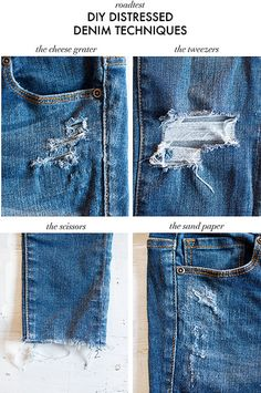 DIY DISTRESSED DENIM TECHNIQUES ROAD TESTED « a pair & a spare