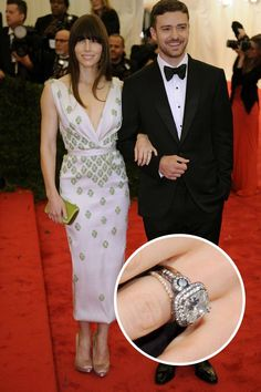Justin Timberlake proposed to longtime girlfriend Jessica Biel with this vintage-inspired six-carat diamond.   - ELLE.com