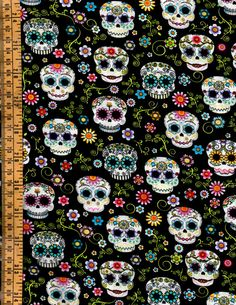 Sugar Skulls & Floral Vines Flowers Dia De Los Muertos Halloween Day of the Dead Cotton Quilting Fabric By the Yard Half Yard or Fat Quarter