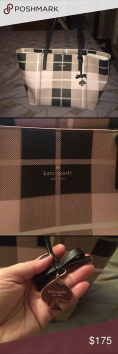 Rare Kate Spade Newbury Lane pink plaid tote purse Being offered is an almost new authentic Kate Spade pink plaid large tote handbag. This bag measures 18w x10L x 7d. This bag was carried a few times there is no damage or defect just a few light pen marks on the interior base where you wallet keys and things lay. I'm in love with this bag I just need something smaller. This bag is a rare model and it's the only one on posh. You won't be sorry with this simply adorable bag I got constant…
