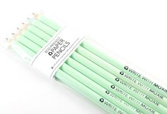 6 Piece Mint Eco-Friendly Recycled Paper Pencils - made from 100% recycled paper