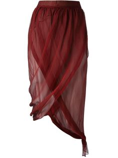 Bordeaux silk wrap skirt from Romeo Gigli Vintage featuring a high waist, a draped design and an asymmetric hem. Please note that vintage items are not new and therefore might have minor imperfections.