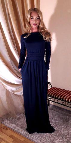 Navy Blue Maxi Dress Long Sleeves Pockets Prom Dress