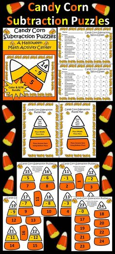 Candy Corn Subtraction Math Puzzle Packet: This colorful Halloween math packet…
